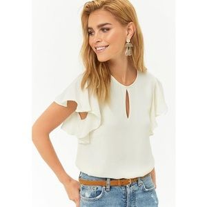 Forever 21 ivory butterfly sleeve top